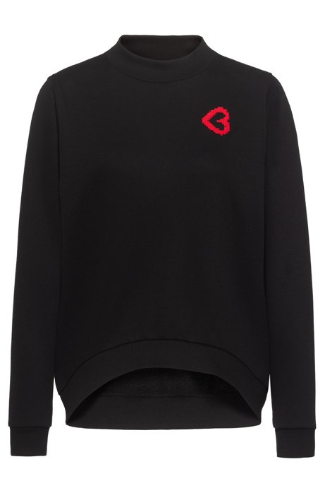Relaxed-fit sweatshirt in cotton terry with heart motif, Black