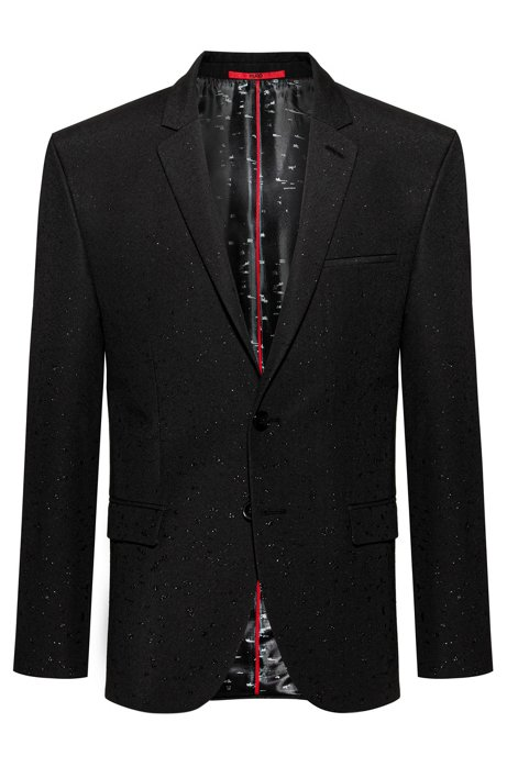 Extra-slim-fit tailored jacket in dégradé stardust jacquard, Black