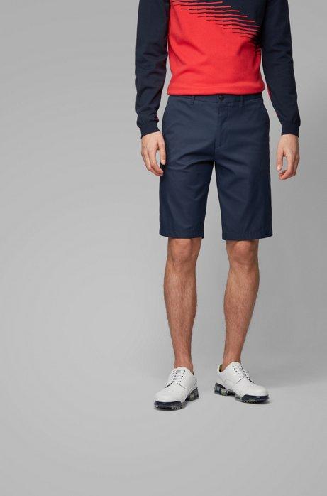 Regular-fit shorts in moisture-wicking stretch twill, Dark Blue