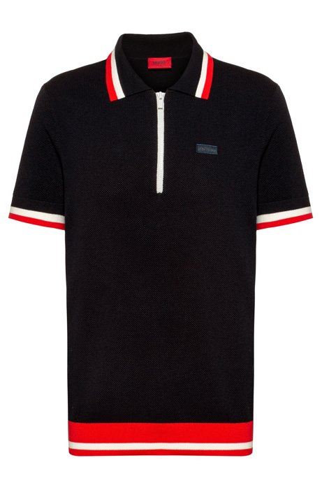 Oversized-fit polo sweater with striped trims, Dark Blue