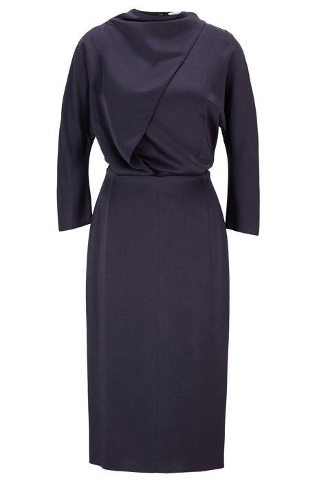 Tie-neck midi dress in Italian fabric, Open Blue