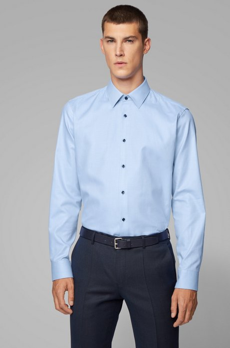 Regular-fit shirt in two-tone structured cotton, Light Blue