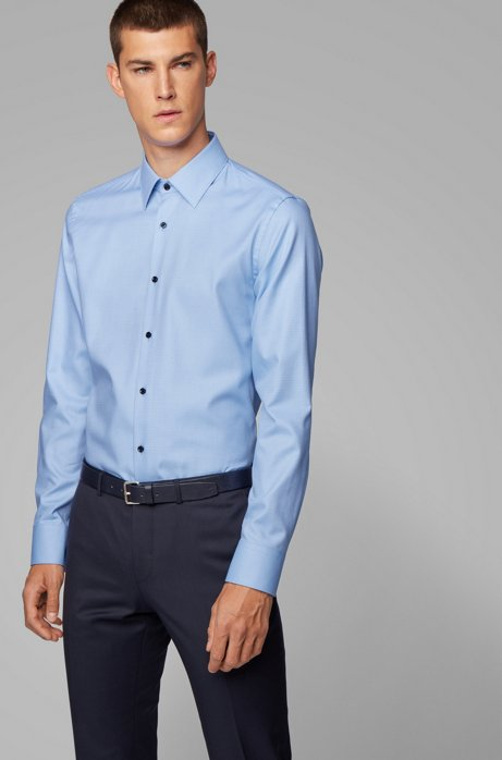 Slim-fit shirt in structured cotton with contrast buttons, Light Blue