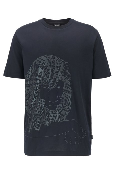 Pure-cotton T-shirt with rubberized print, Black
