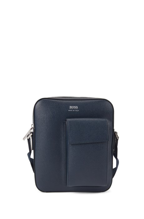 Signature Collection bag in Italian leather with phone pocket, Dark Blue