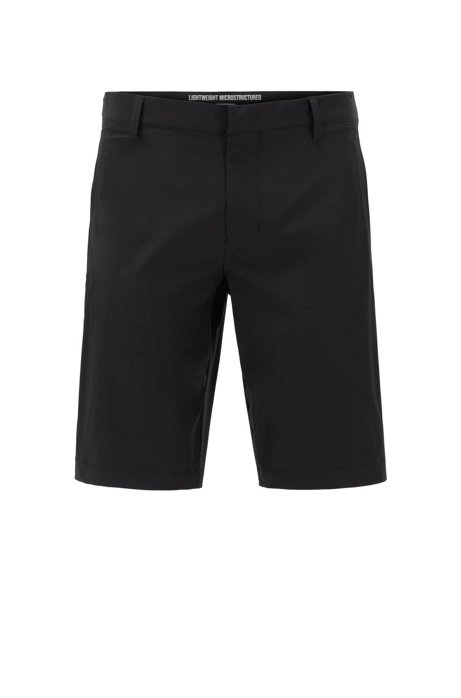 Slim-fit shorts in anti-wrinkle fabric, Black