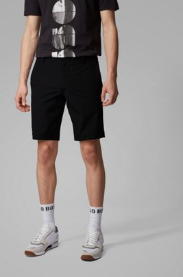 Slim-fit shorts in anti-wrinkle fabric, Black