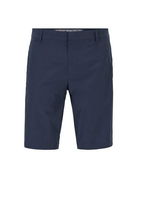 Slim-fit shorts in anti-wrinkle fabric, Dark Blue