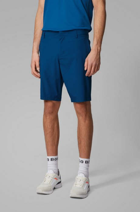 Slim-fit shorts in anti-wrinkle fabric, Blue