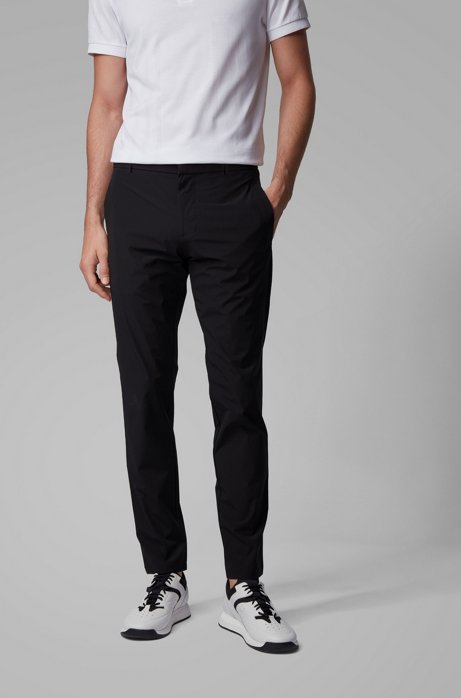 Slim-fit pants in water-repellent technical-stretch fabric, Black