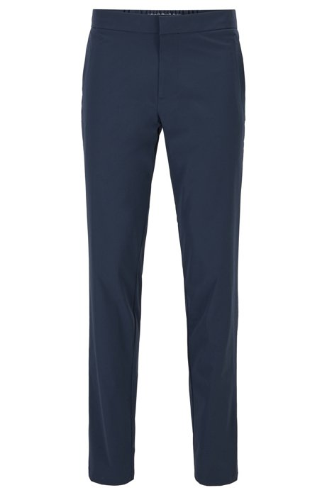 Slim-fit pants in water-repellent technical-stretch fabric, Dark Blue