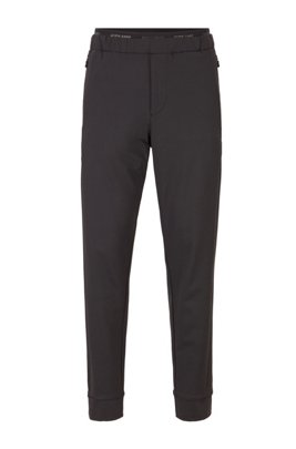 Tapered-fit pants in stretch jersey with logo detailing, Black