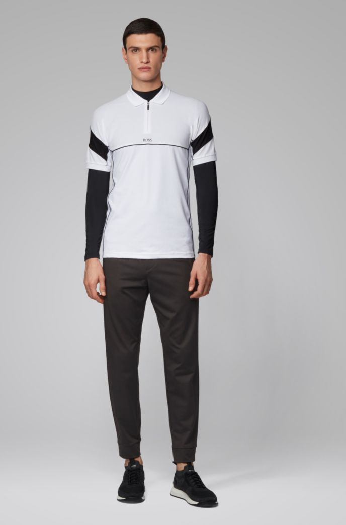 Tapered-fit pants in stretch jersey with logo detailing