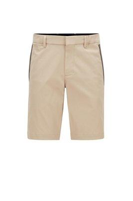 Short Slim Fit en coton stretch mélangé et façonné, Beige clair