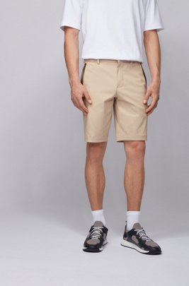Slim-fit shorts in cotton-blend stretch dobby, Light Beige