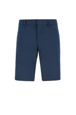 Short Slim Fit en coton stretch mélangé et façonné, Bleu foncé