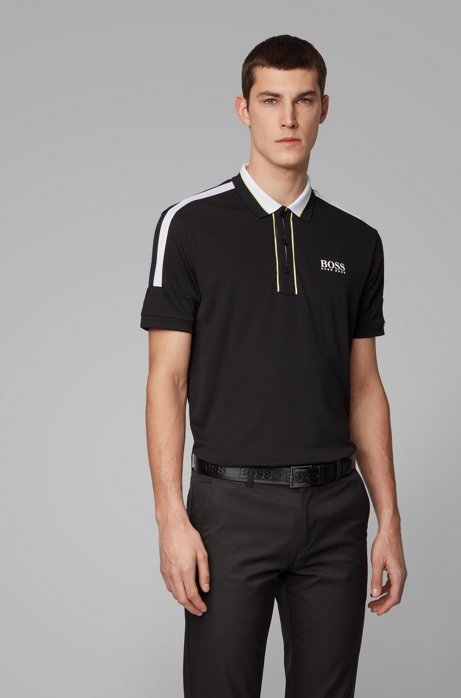Stripe-detail polo shirt in recycled stretch fabric, Black
