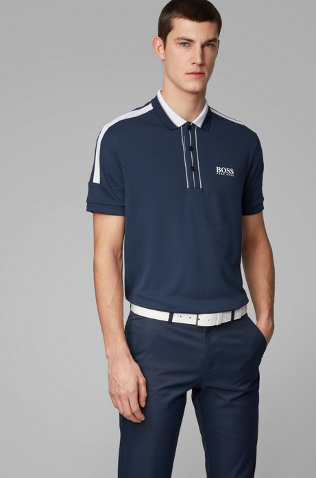 Stripe-detail polo shirt in recycled stretch fabric, Dark Blue