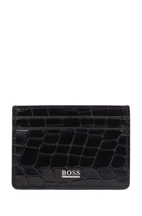 Card holder in crocodile-embossed Italian leather, Black