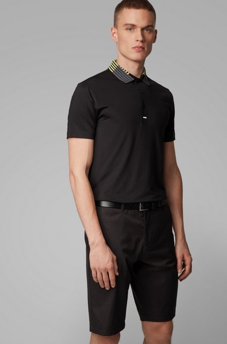 Slim-fit golf polo shirt in recycled stretch fabric, Black