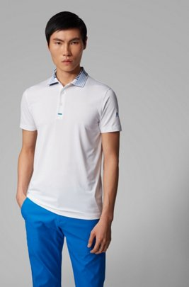 Slim-fit golf polo shirt in recycled stretch fabric, White
