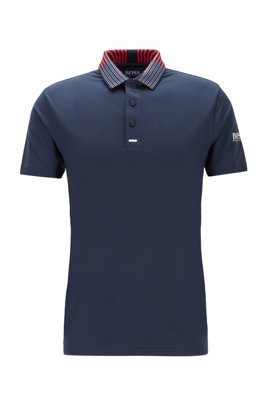Slim-fit golf polo shirt in recycled stretch fabric, Dark Blue