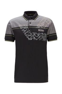 Regular-fit polo shirt with dynamic artwork, Black