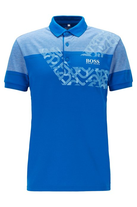 Regular-fit polo shirt with dynamic artwork, Blue