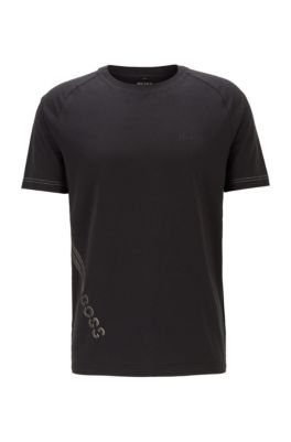 Stretch-cotton T-shirt with rubberized logo print, Black