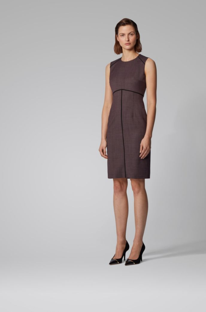 Micro-pattern shift dress with piping details