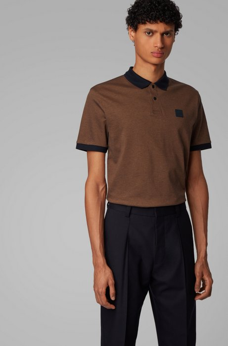 Cotton-piqué polo shirt with press-stud placket, Khaki