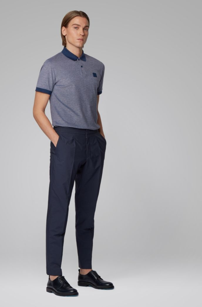 Cotton-piqué polo shirt with press-stud placket