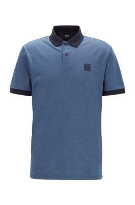 Cotton-piqué polo shirt with press-stud placket, Open Blue