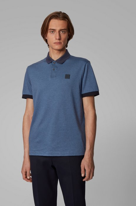 Cotton-piqué polo shirt with press-stud placket, Open Blue