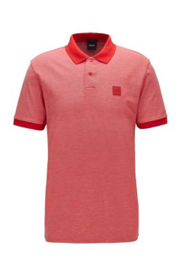 Cotton-piqué polo shirt with press-stud placket, Red