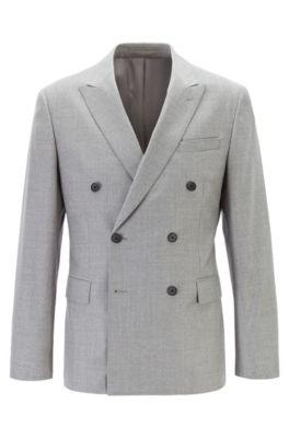 Double-breasted slim-fit jacket in melange wool, Grey