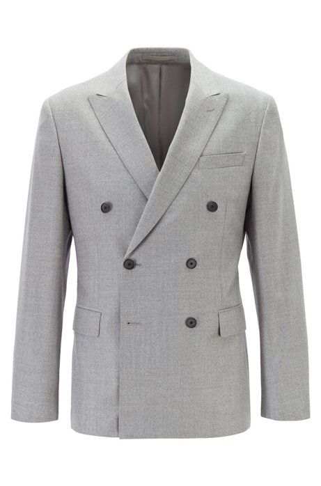 Double-breasted slim-fit jacket in melange wool, Grey