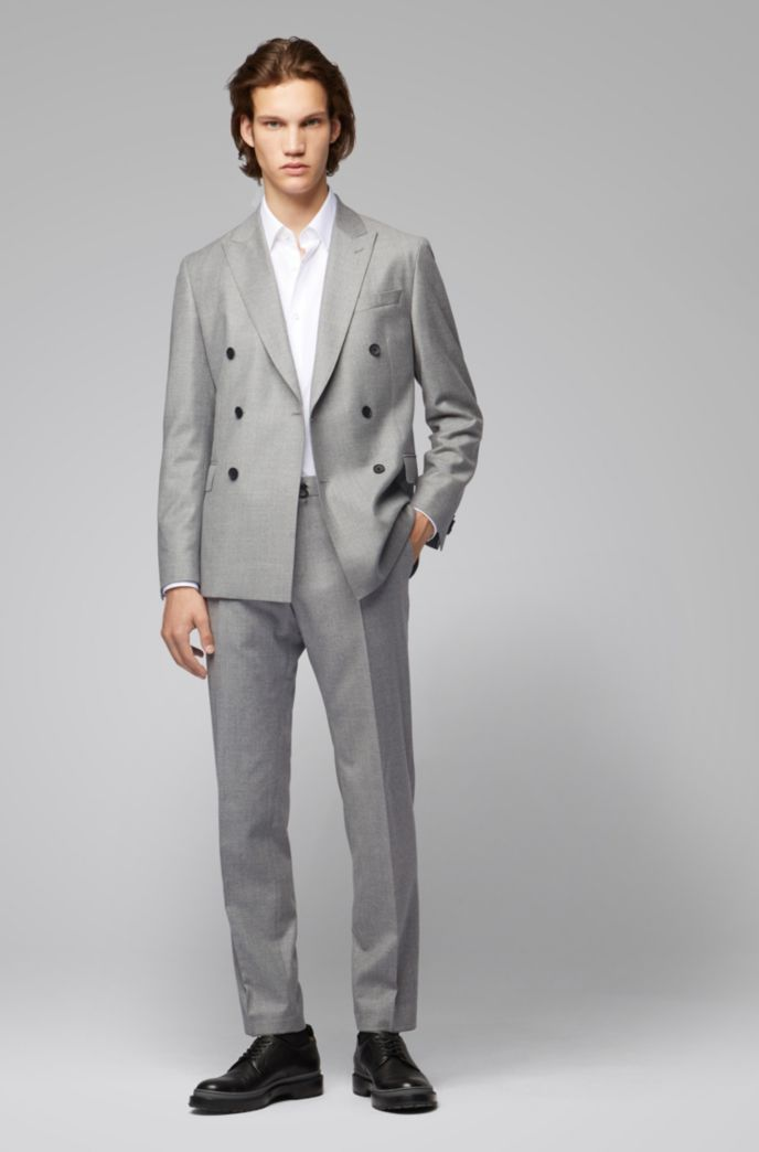 Double-breasted slim-fit jacket in melange wool