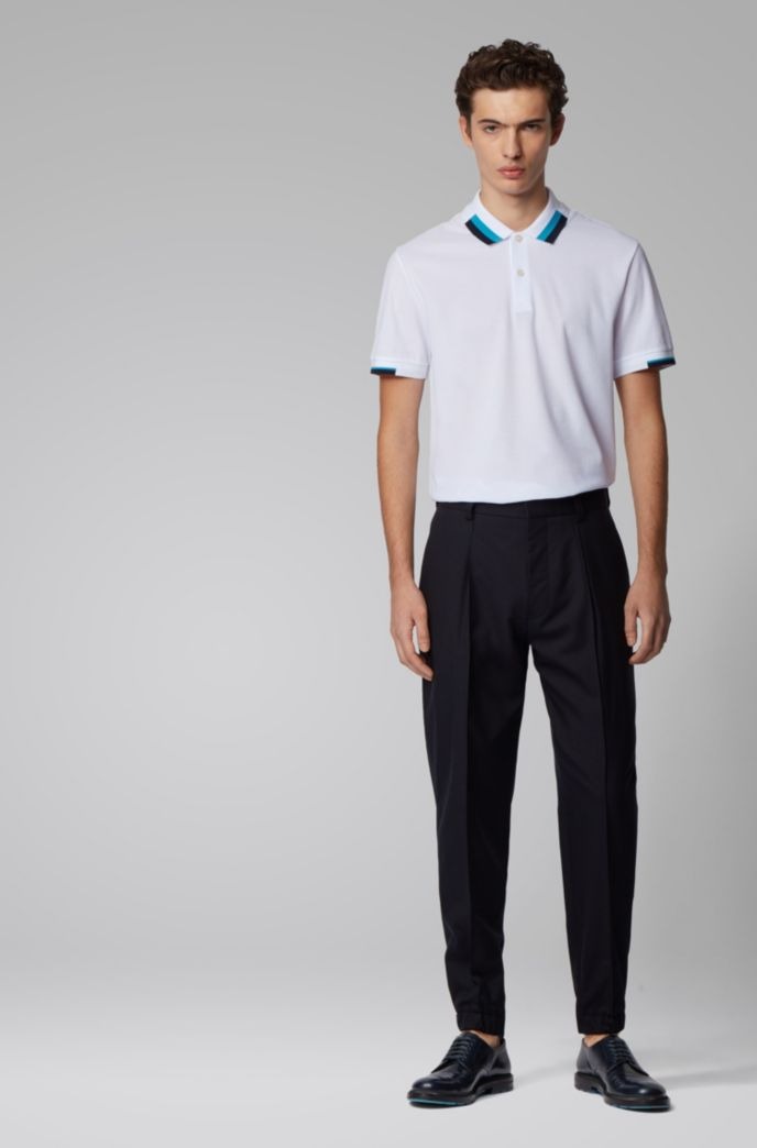 Regular-fit polo shirt with color-blocking