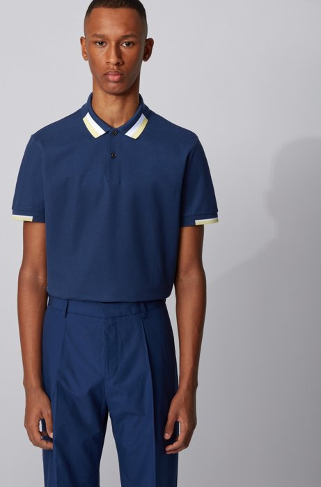 Regular-fit polo shirt with color-blocking, Dark Blue