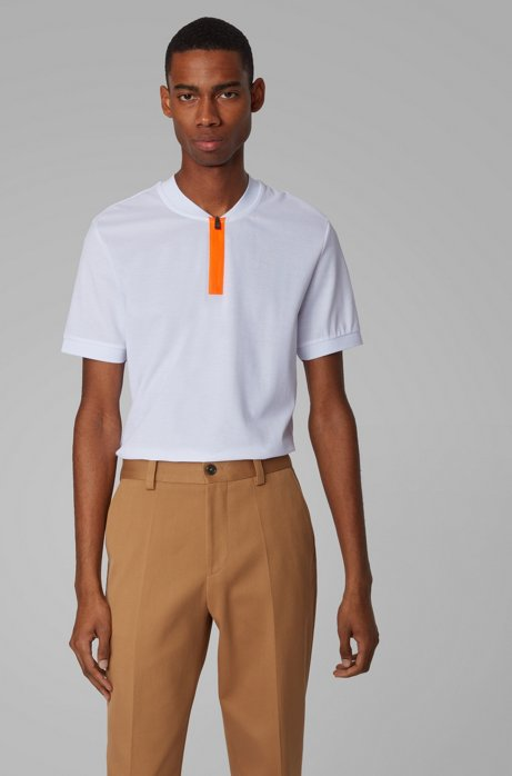 Slim-fit polo shirt in cotton with zipper neck, White