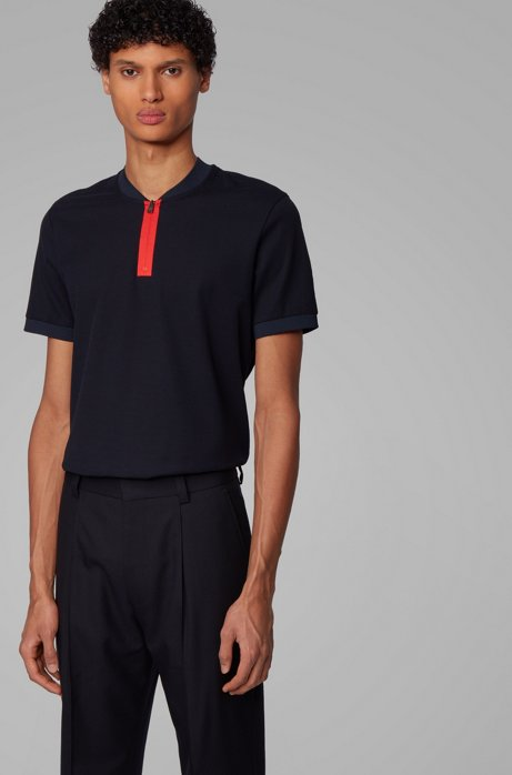 Slim-fit polo shirt in cotton with zipper neck, Dark Blue