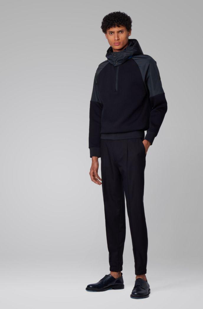 Hybrid sweatshirt with detachable hood