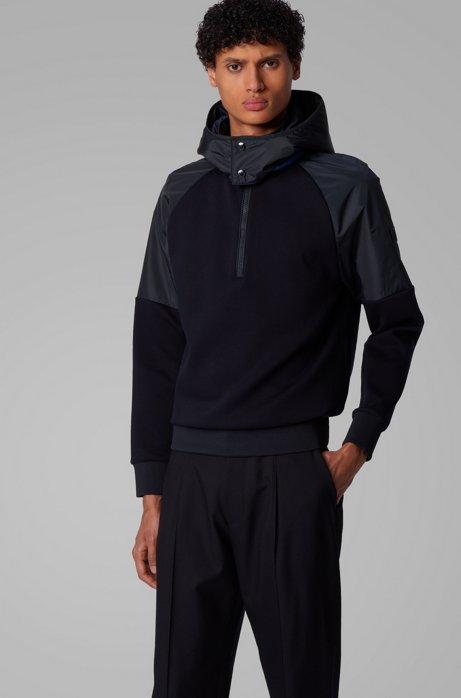 Hybrid sweatshirt with detachable hood, Dark Blue