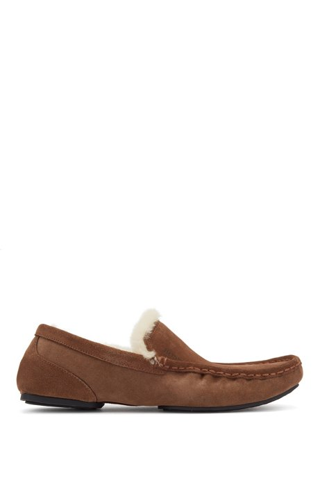 Moccasins in suede with shearling lining, Brown
