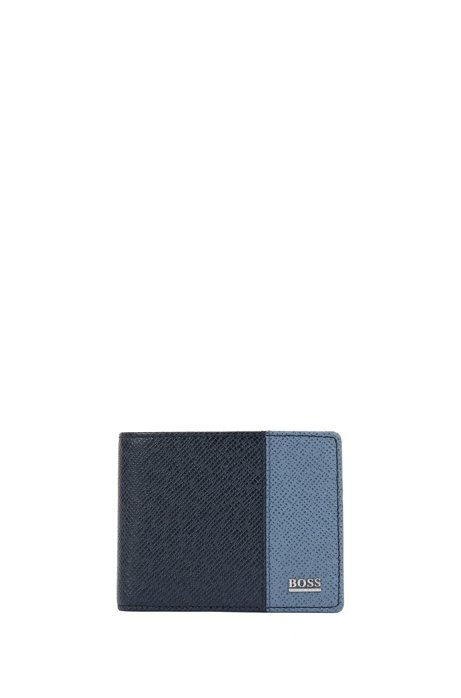 Signature Collection billfold wallet in color-block palmellato leather, Dark Blue
