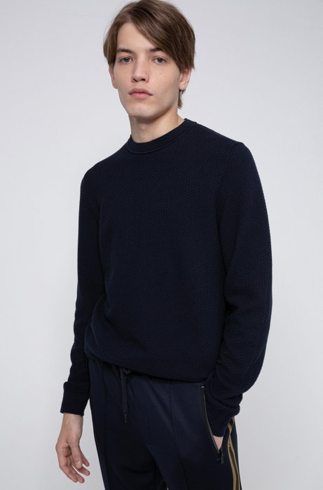Patterned sweater in jacquard-knitted cotton, Dark Blue