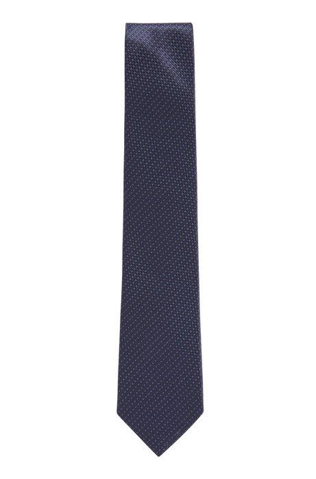 Italian-made tie in patterned silk jacquard, Dark Blue