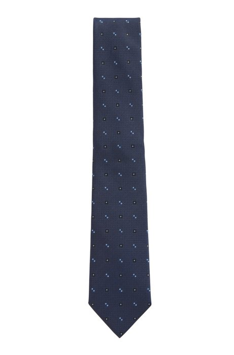 Italian-made tie in patterned silk jacquard, Dark Blue