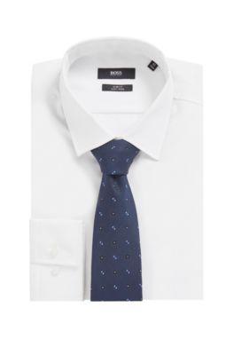 Hugo Boss Textured Woven Italian Silk Tie Blue 50397367